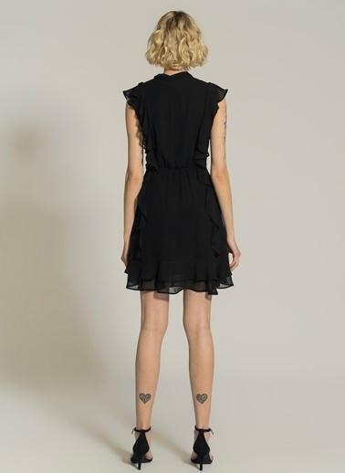 NGSTYLE Şifon Volanlı Bağlama Detaylı Elbise Siyah